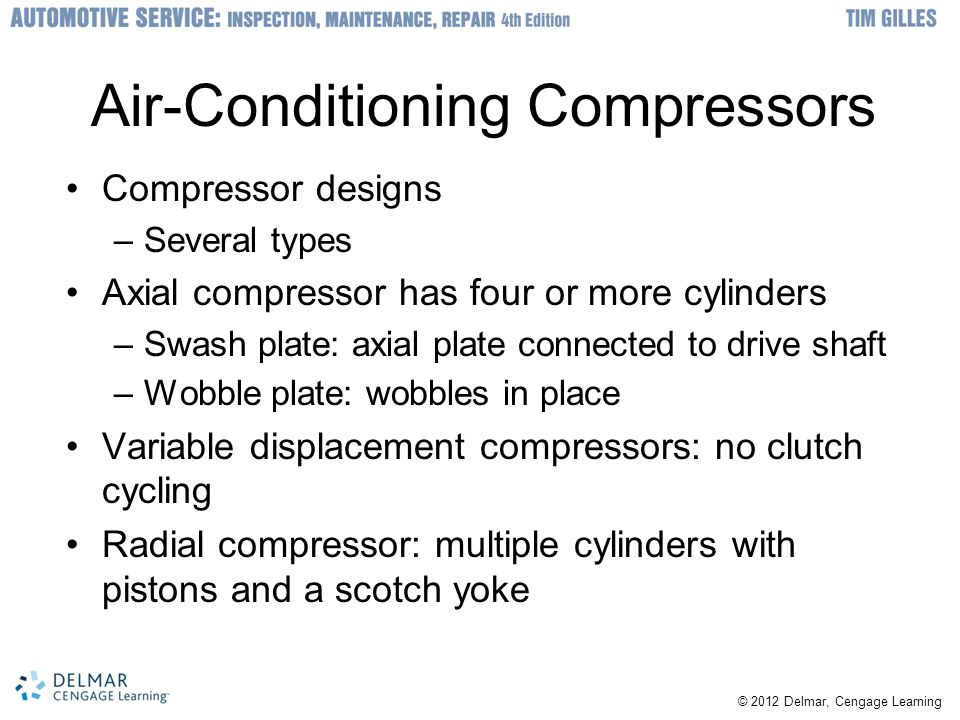 © 2012 Delmar, Cengage Learning Air-Conditioning Compressors Compressor designs –Several types Axial compressor has four or more cylinders –Swash plat