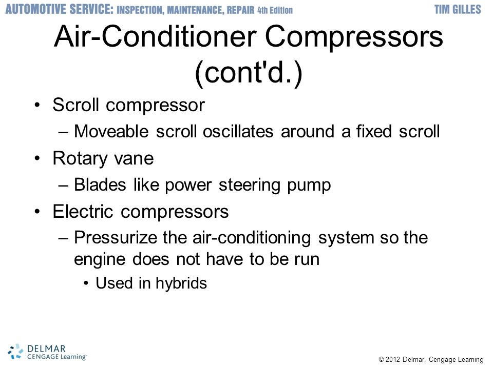 © 2012 Delmar, Cengage Learning Air-Conditioner Compressors (cont'd.) Scroll compressor –Moveable scroll oscillates around a fixed scroll Rotary vane