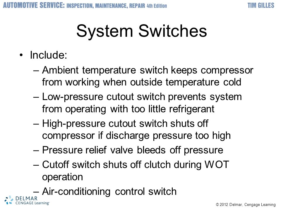 © 2012 Delmar, Cengage Learning System Switches Include: –Ambient temperature switch keeps compressor from working when outside temperature cold –Low-