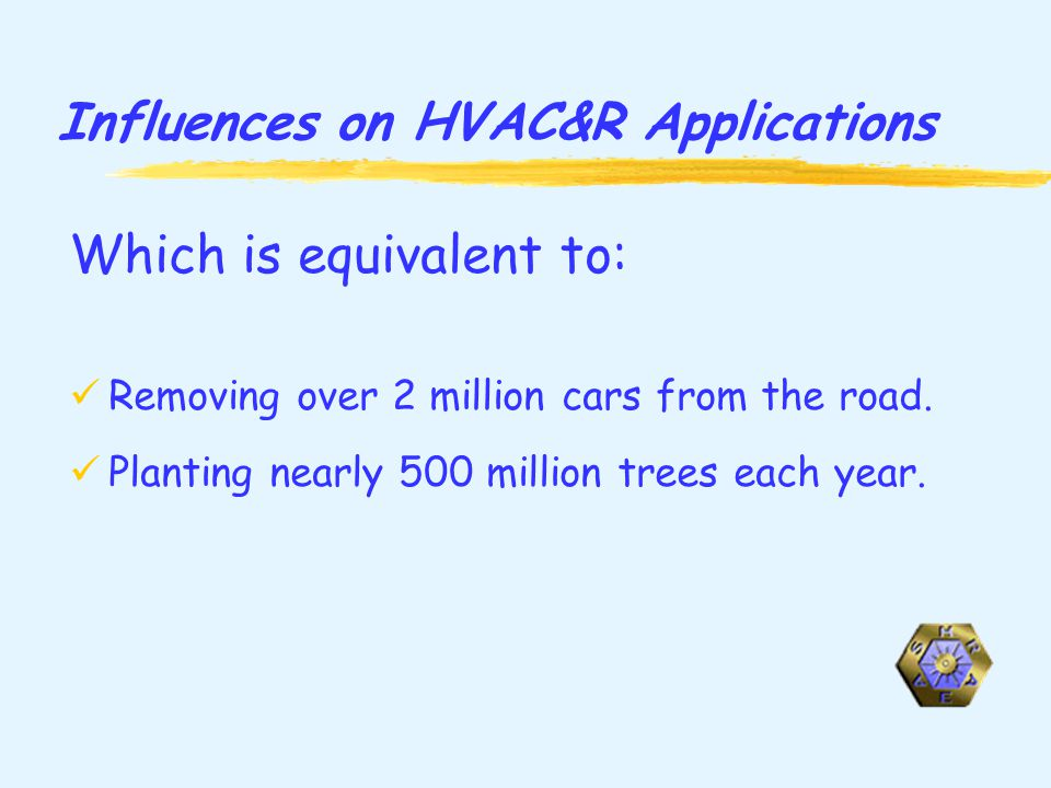 Influences on HVAC&R Applications Which is equivalent to: Removing over 2 million cars from the road.