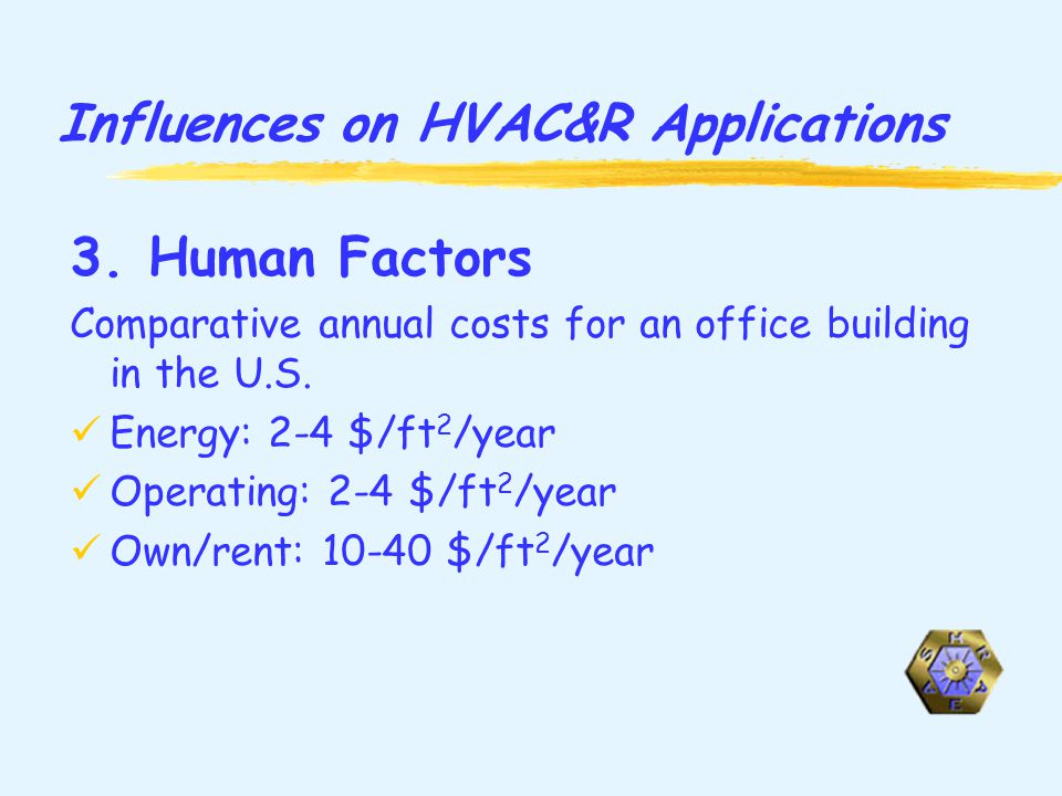 Influences on HVAC&R Applications 3.