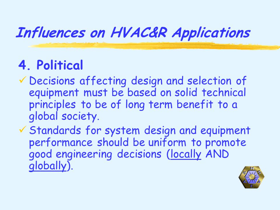 Influences on HVAC&R Applications 4.
