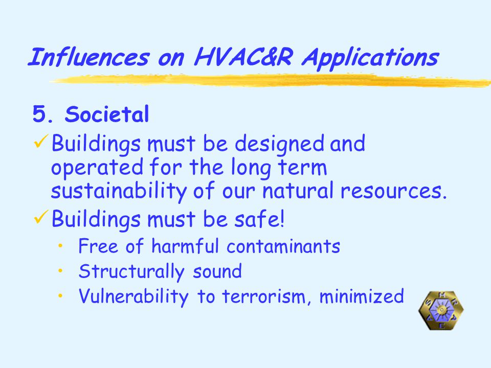 Influences on HVAC&R Applications 5.