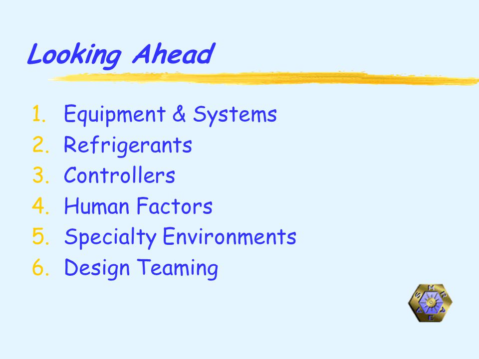 Looking Ahead 1.Equipment & Systems 2.Refrigerants 3.Controllers 4.Human Factors 5.Specialty Environments 6.Design Teaming