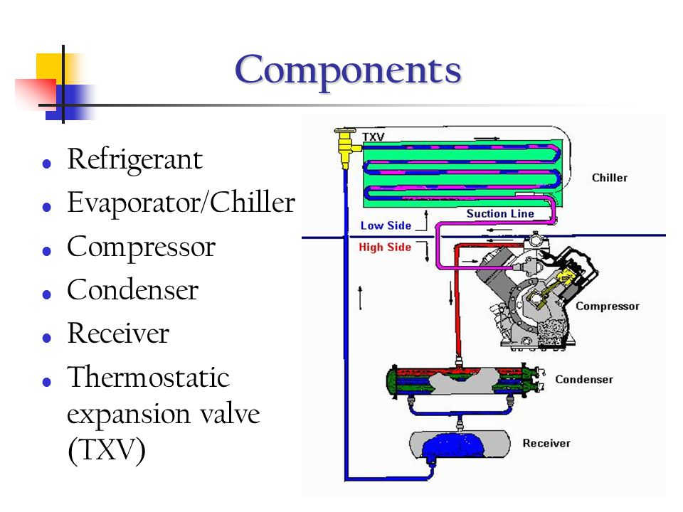 Components Refrigerant Evaporator/Chiller Compressor Condenser Receiver Thermostatic expansion valve (TXV)