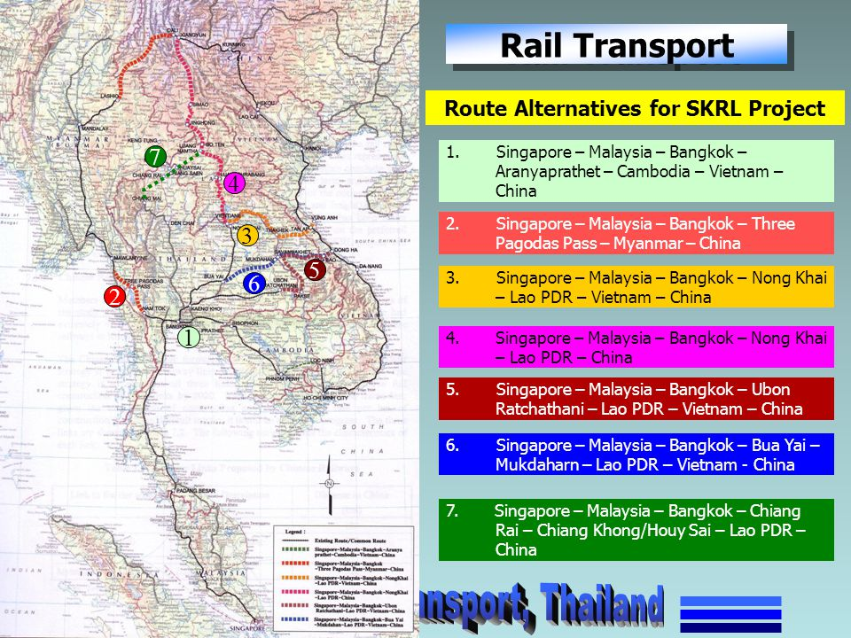 Route Alternatives for SKRL Project 1. Singapore – Malaysia – Bangkok – Aranyaprathet – Cambodia – Vietnam – China 1 2. Singapore – Malaysia – Bangkok