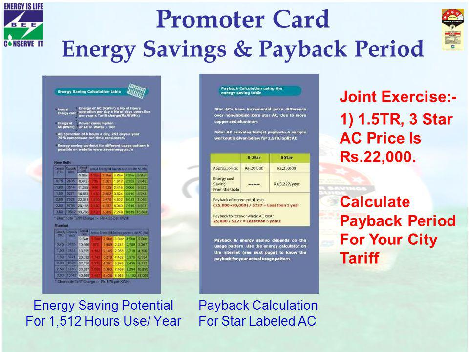 Promoter Card Energy Savings & Payback Period Energy Saving Potential For 1,512 Hours Use/ Year Joint Exercise:- 1) 1.5TR, 3 Star AC Price Is Rs.22,00