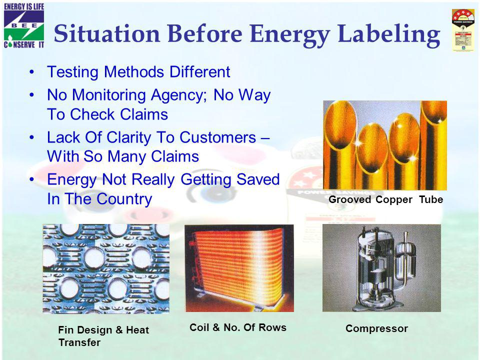 Situation Before Energy Labeling Testing Methods Different No Monitoring Agency; No Way To Check Claims Lack Of Clarity To Customers – With So Many Cl