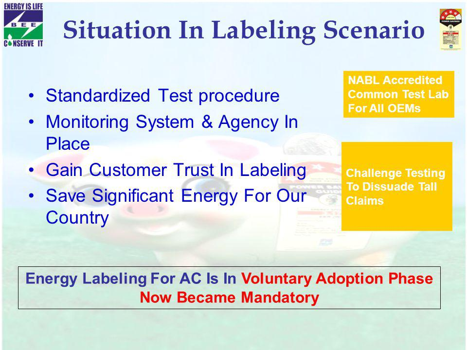Situation In Labeling Scenario Standardized Test procedure Monitoring System & Agency In Place Gain Customer Trust In Labeling Save Significant Energy