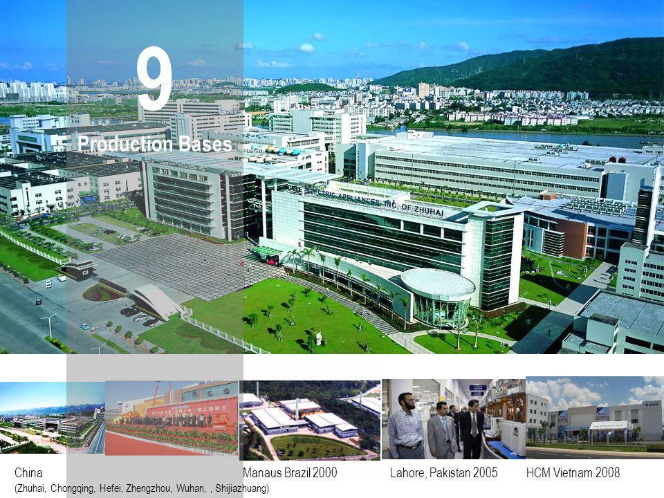 9 Production Bases China Manaus Brazil 2000 Lahore, Pakistan 2005 HCM Vietnam 2008 (Zhuhai, Chongqing, Hefei, Zhengzhou, Wuhan,, Shijiazhuang)
