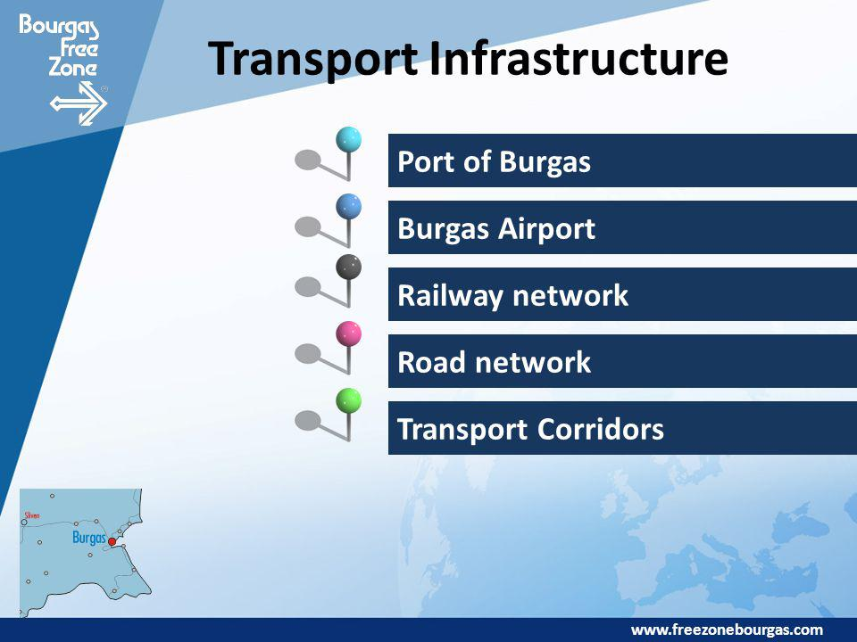 www.freezonebourgas.com Transport Infrastructure Port of Burgas Burgas Airport Railway network Road network Transport Corridors