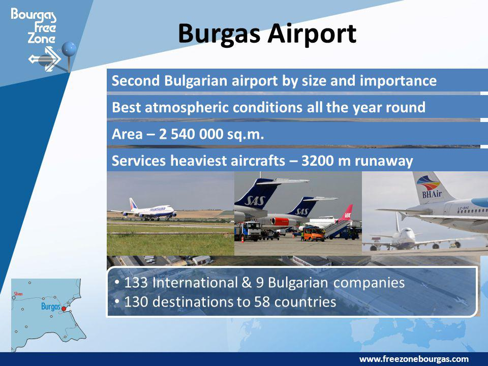 www.freezonebourgas.com Burgas Airport Second Bulgarian airport by size and importance Best atmospheric conditions all the year round Area – 2 540 000