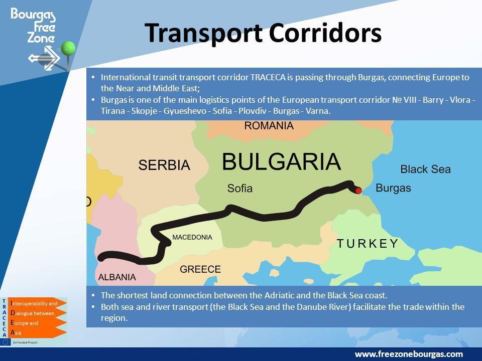 www.freezonebourgas.com Transport Corridors International transit transport corridor TRACECA is passing through Burgas, connecting Europe to the Near