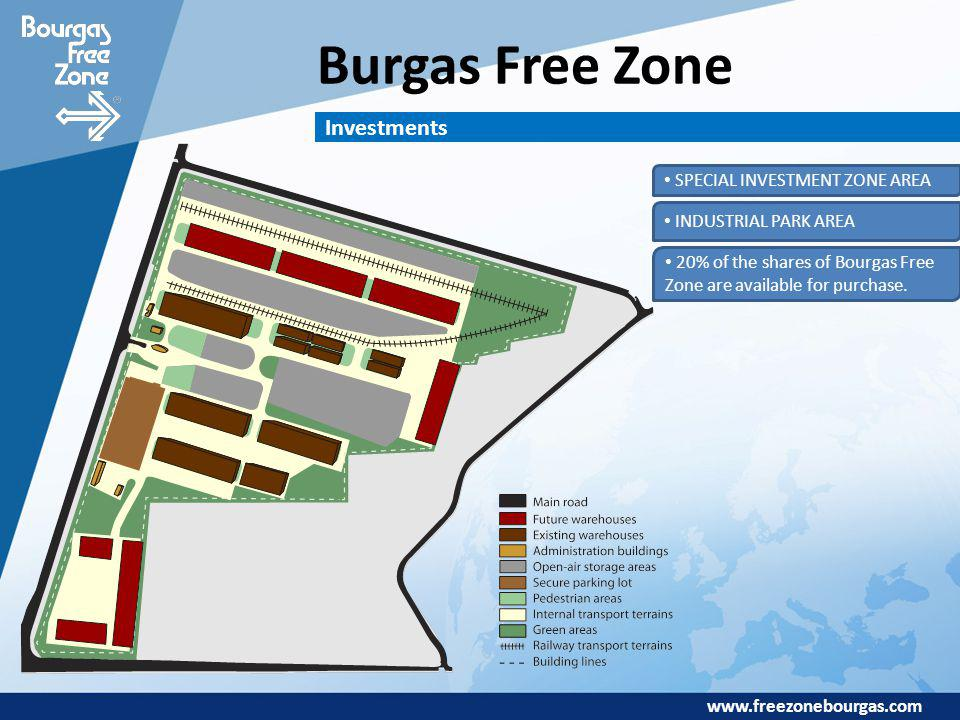 www.freezonebourgas.com Burgas Free Zone Investments SPECIAL INVESTMENT ZONE AREA INDUSTRIAL PARK AREA 20% of the shares of Bourgas Free Zone are avai