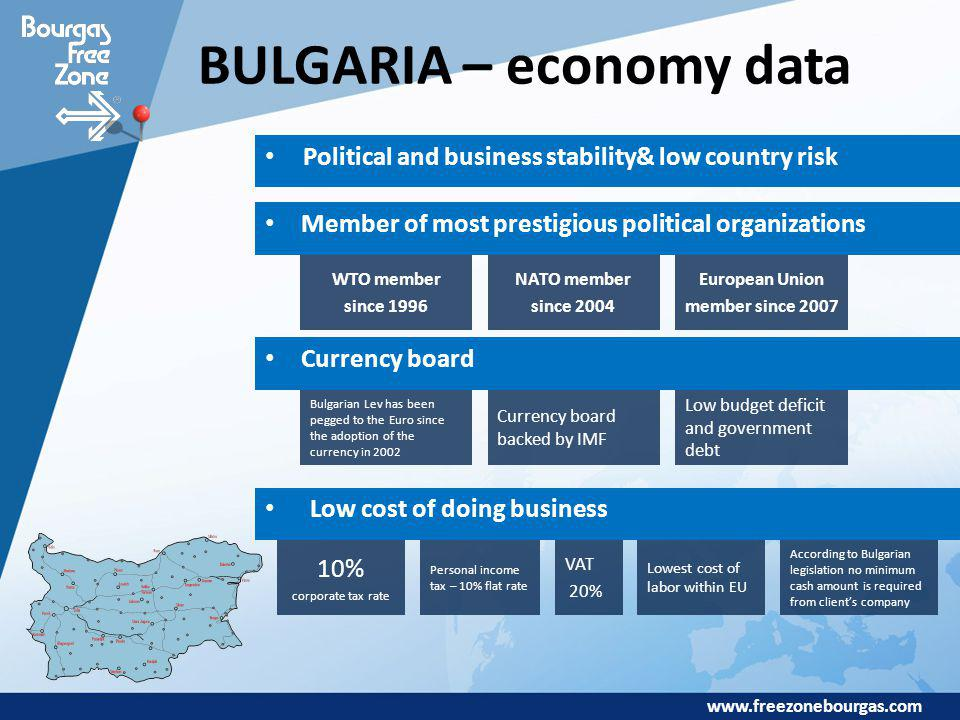 www.freezonebourgas.com BULGARIA – economy data Political and business stability& low country risk Member of most prestigious political organizations