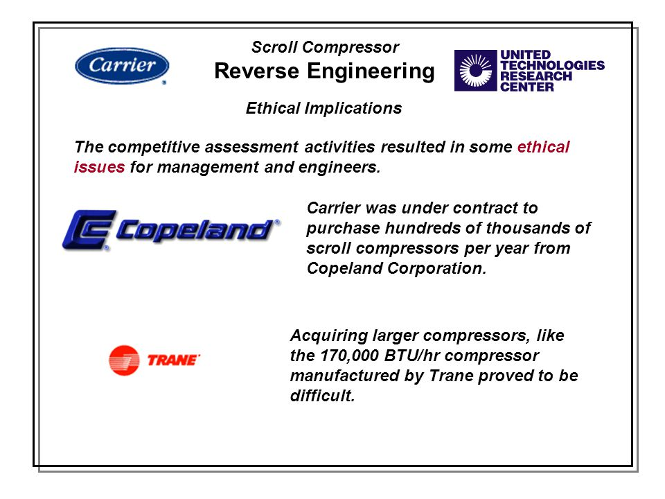 Scroll Compressor Reverse Engineering Ethical Implications The competitive assessment activities resulted in some ethical issues for management and en