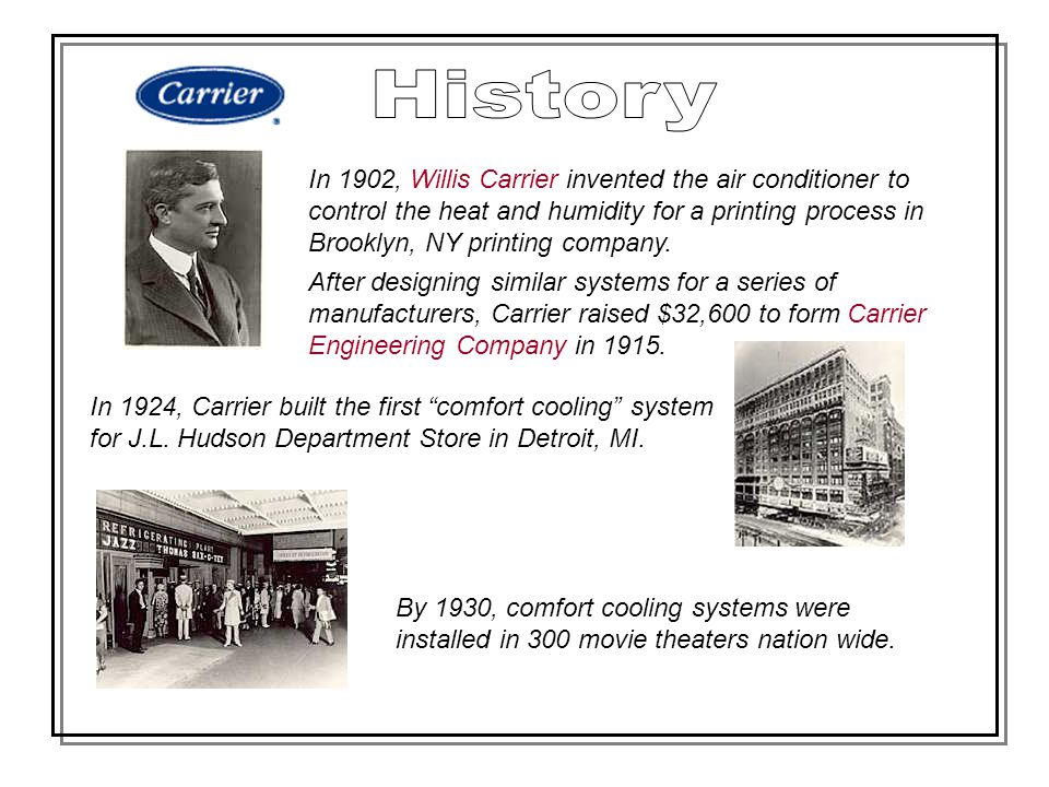In 1902, Willis Carrier invented the air conditioner to control the heat and humidity for a printing process in Brooklyn, NY printing company. After d