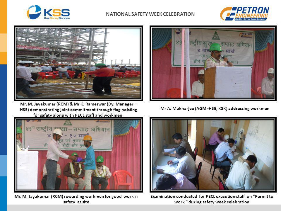 Mr. M. Jayakumar (RCM) & Mr K. Rameswar (Dy. Manager – HSE) demonstrating joint commitment through flag hoisting for safety along with PECL staff and