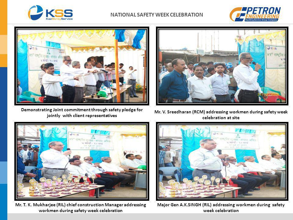 Demonstrating Joint commitment through safety pledge for jointly with client representatives Mr. V. Sreedharan (RCM) addressing workmen during safety