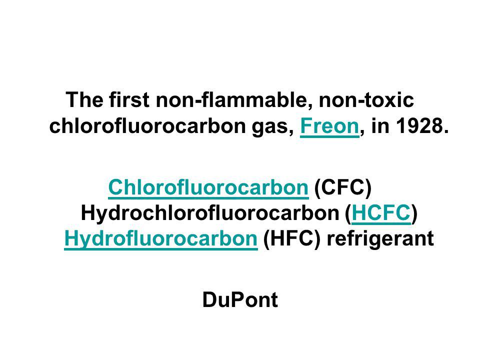 The first non-flammable, non-toxic chlorofluorocarbon gas, Freon, in 1928.Freon ChlorofluorocarbonChlorofluorocarbon (CFC) Hydrochlorofluorocarbon (HCFC) Hydrofluorocarbon (HFC) refrigerantHCFC Hydrofluorocarbon DuPont