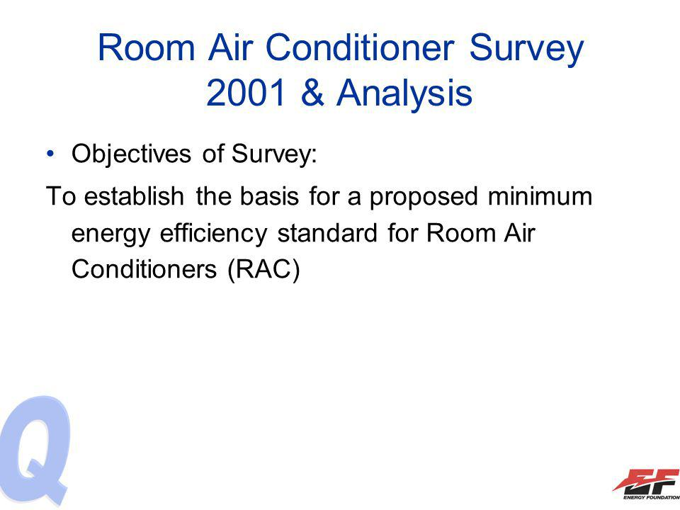 Room Air Conditioner Survey 2001 & Analysis Objectives of Survey: To establish the basis for a proposed minimum energy efficiency standard for Room Ai