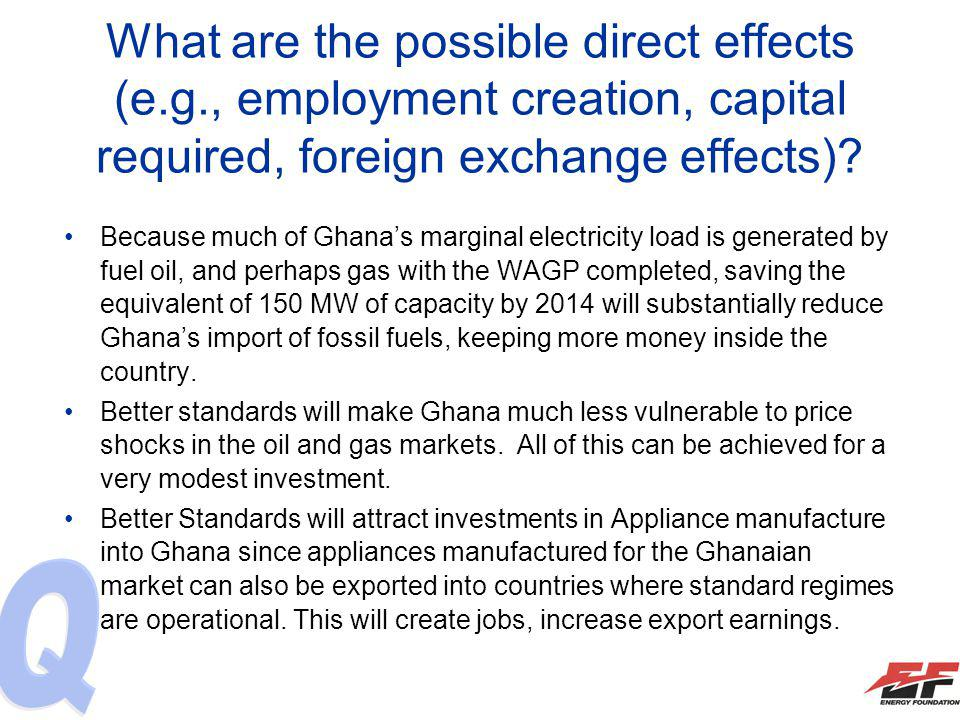 What are the possible direct effects (e.g., employment creation, capital required, foreign exchange effects)? Because much of Ghanas marginal electric