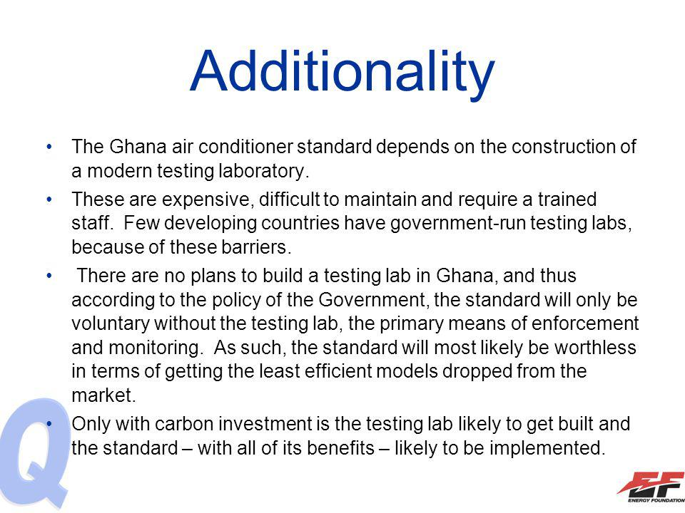 Additionality The Ghana air conditioner standard depends on the construction of a modern testing laboratory. These are expensive, difficult to maintai