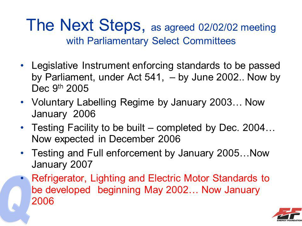The Next Steps, as agreed 02/02/02 meeting with Parliamentary Select Committees Legislative Instrument enforcing standards to be passed by Parliament,