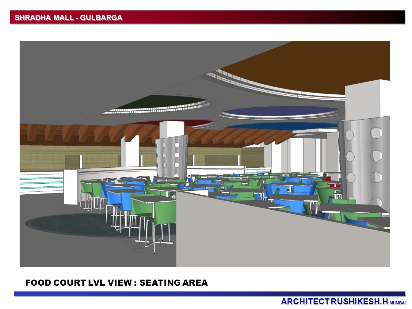 ARCHITECT RUSHIKESH.H MUMBAI SHRADHA MALL - GULBARGA FOOD COURT LVL VIEW : SEATING AREA