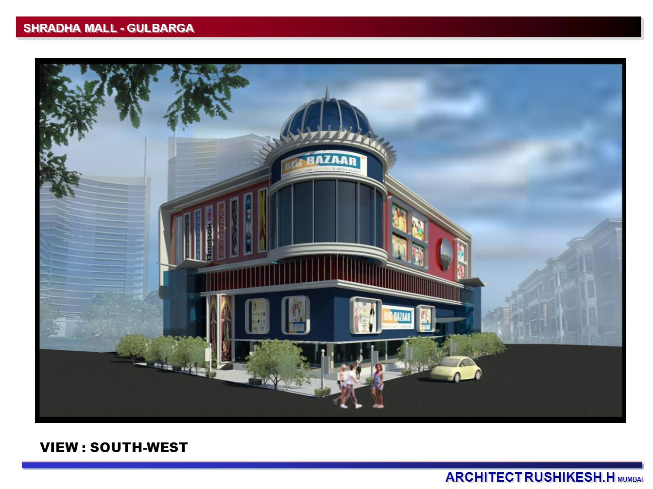 ARCHITECT RUSHIKESH.H MUMBAI SHRADHA MALL - GULBARGA VIEW : SOUTH-WEST