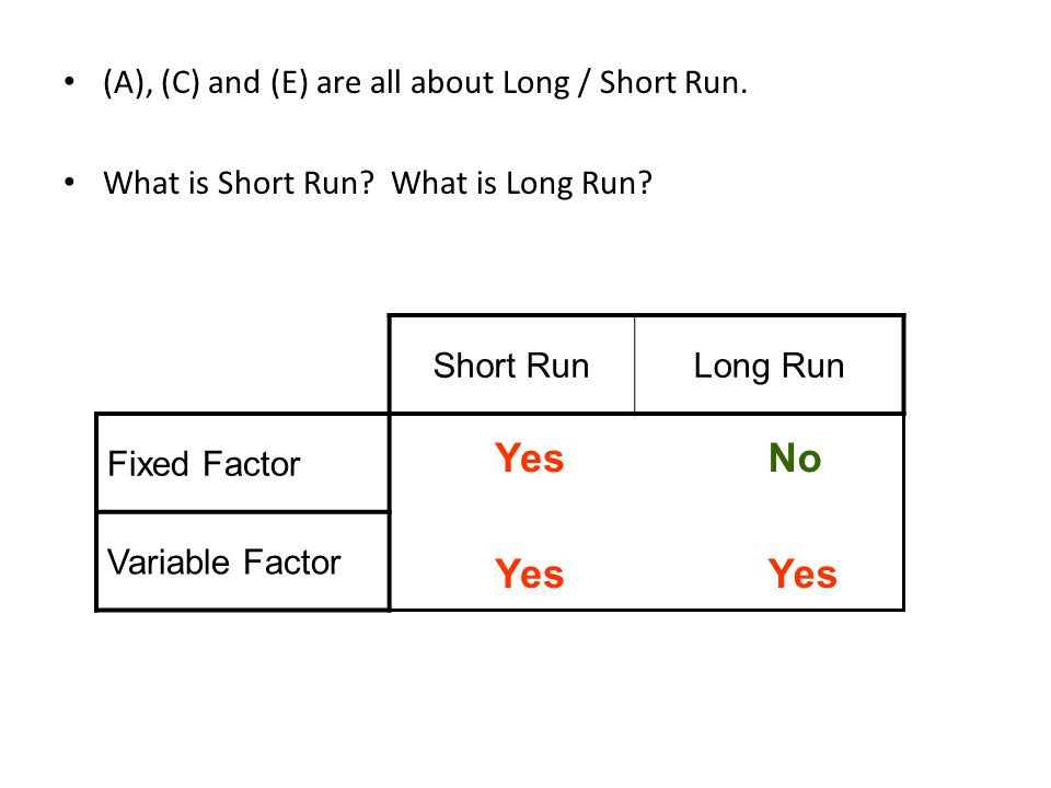 (A), (C) and (E) are all about Long / Short Run. What is Short Run? What is Long Run? Short RunLong Run Fixed Factor?? Variable Factor?? Yes No