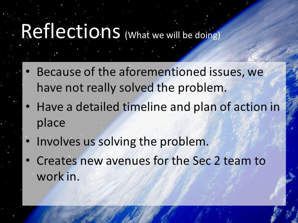 Reflections (What we will be doing) Because of the aforementioned issues, we have not really solved the problem.