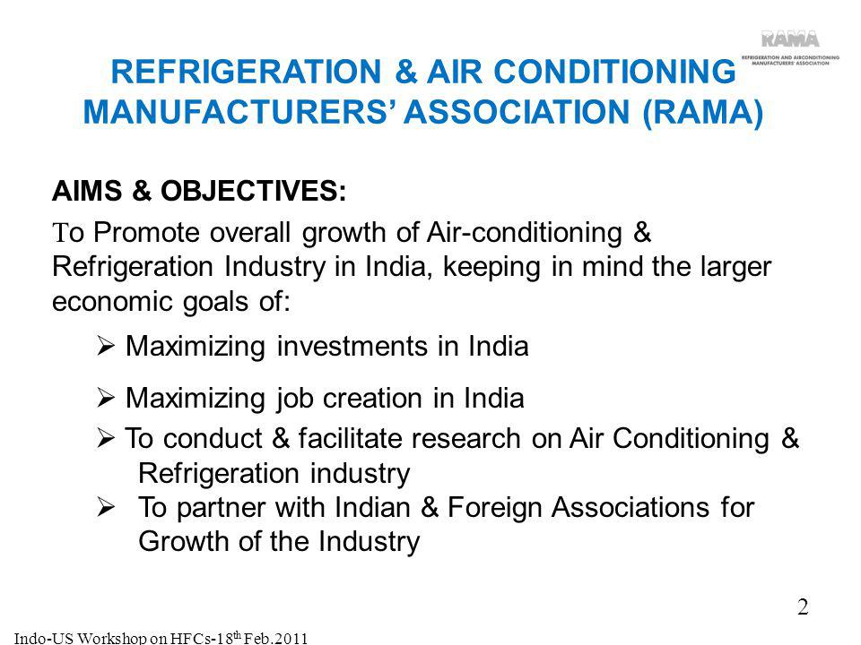 3 Air Conditioning & US$ (billion) Commercial Refrigeration: Air Conditioning Systems3.2 Commercial Refrigeration0.5 Servicing 0.3 TOTAL 4.0 Domestic Refrigerators: 2.1 Total 6.1 RAMA members account for over 90% of the industry size for Air Conditioning & Commercial Refrigeration and over 70% of domestic refrigerator market.