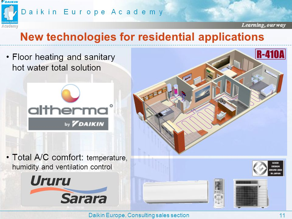 Daikin Europe, Consulting sales section Learning, our way 11 New technologies for residential applications Floor heating and sanitary hot water total