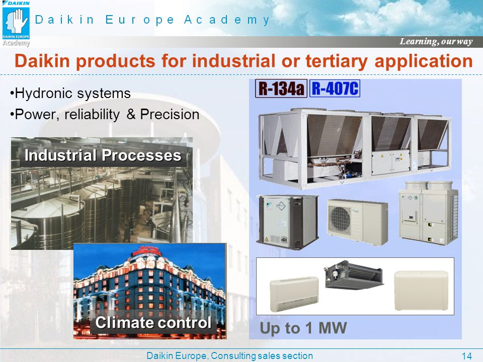 Daikin Europe, Consulting sales section Learning, our way 14 Daikin products for industrial or tertiary application Hydronic systems Power, reliabilit