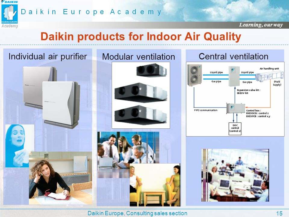 Daikin Europe, Consulting sales section Learning, our way 15 Daikin products for Indoor Air Quality Individual air purifier Modular ventilation Centra