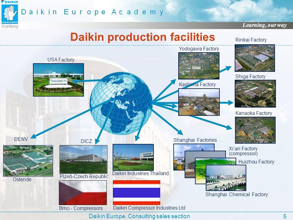 Daikin Europe, Consulting sales section Learning, our way 5 Daikin production facilities USA Factory Daikin Industries Thailand Shanghai Factories Xia