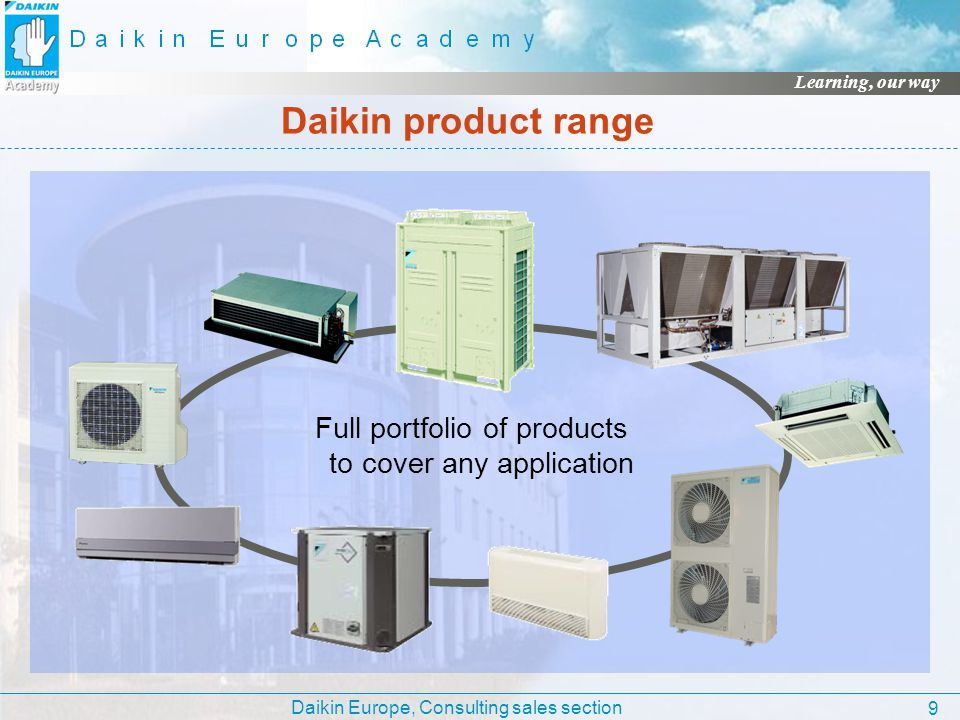 Daikin Europe, Consulting sales section Learning, our way 9 Daikin product range Full portfolio of products to cover any application