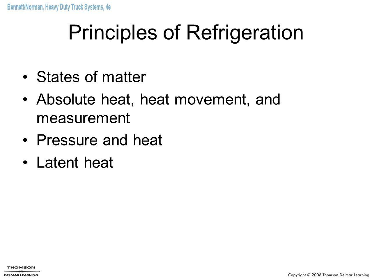 Principles of Refrigeration States of matter Absolute heat, heat movement, and measurement Pressure and heat Latent heat