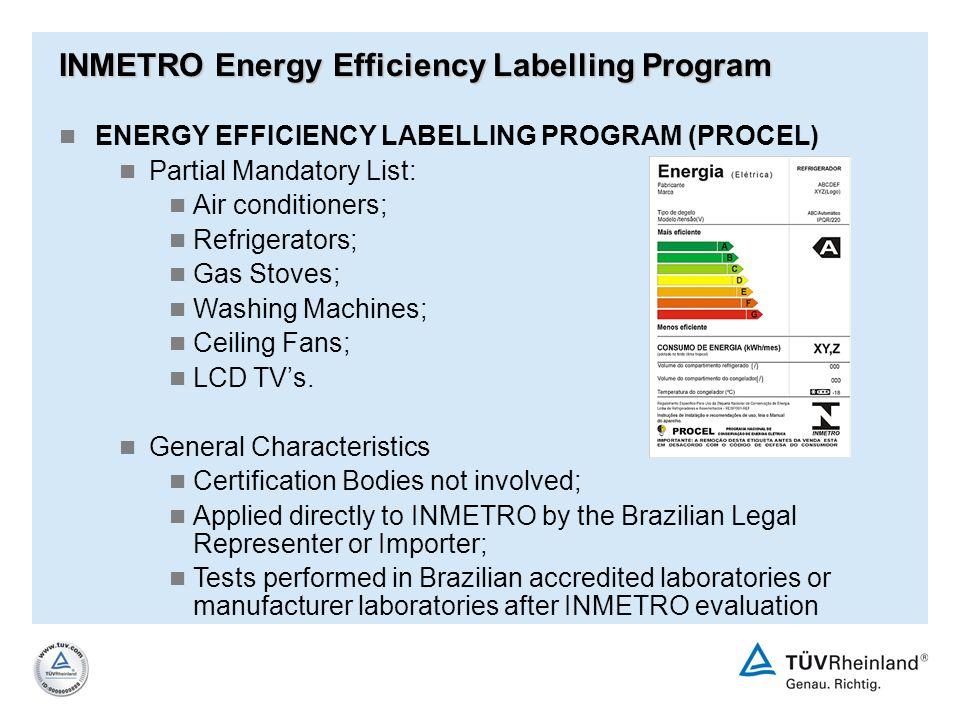 INMETRO Energy Efficiency Labelling Program ENERGY EFFICIENCY LABELLING PROGRAM (PROCEL) Partial Mandatory List: Air conditioners; Refrigerators; Gas
