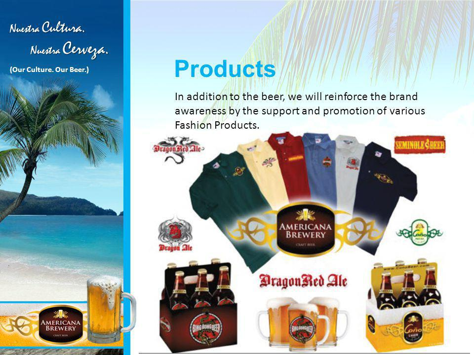 Products In addition to the beer, we will reinforce the brand awareness by the support and promotion of various Fashion Products.