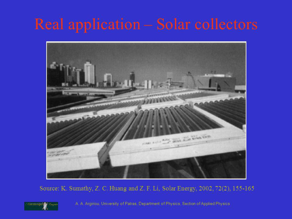 A. A. Argiriou, University of Patras, Department of Physics, Section of Applied Physics Real application – Solar collectors Source: K. Sumathy, Z. C.