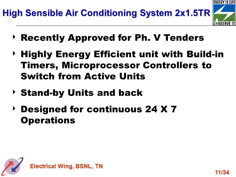 11/34 Electrical Wing, BSNL, TN Recently Approved for Ph. V Tenders Highly Energy Efficient unit with Build-in Timers, Microprocessor Controllers to S