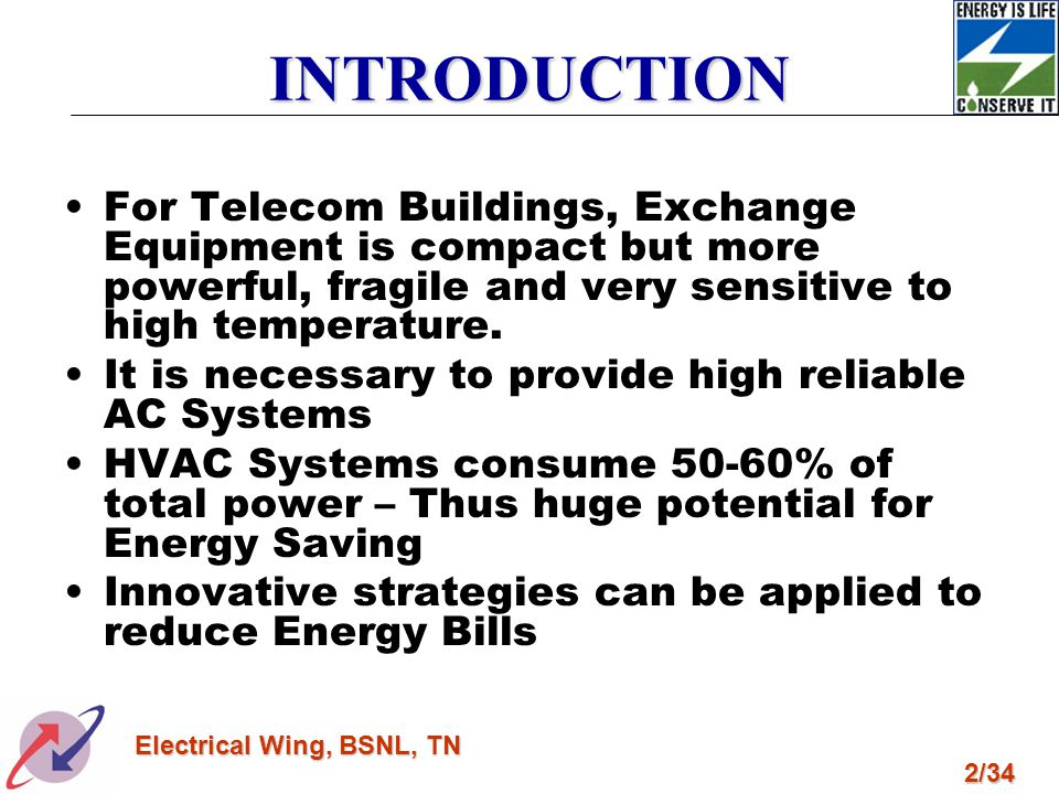 3/34 Electrical Wing, BSNL, TN INNOVATIVE STRATEGIES Building Orientation/Architectural Features Establishing Baseline Performance Indices High Sensible Air-Conditioning System Package AC Units :- –7 TR –2x1.5 TR & 2x2 TR Automation & BMS Variable Voltage Variable Frequency Drives