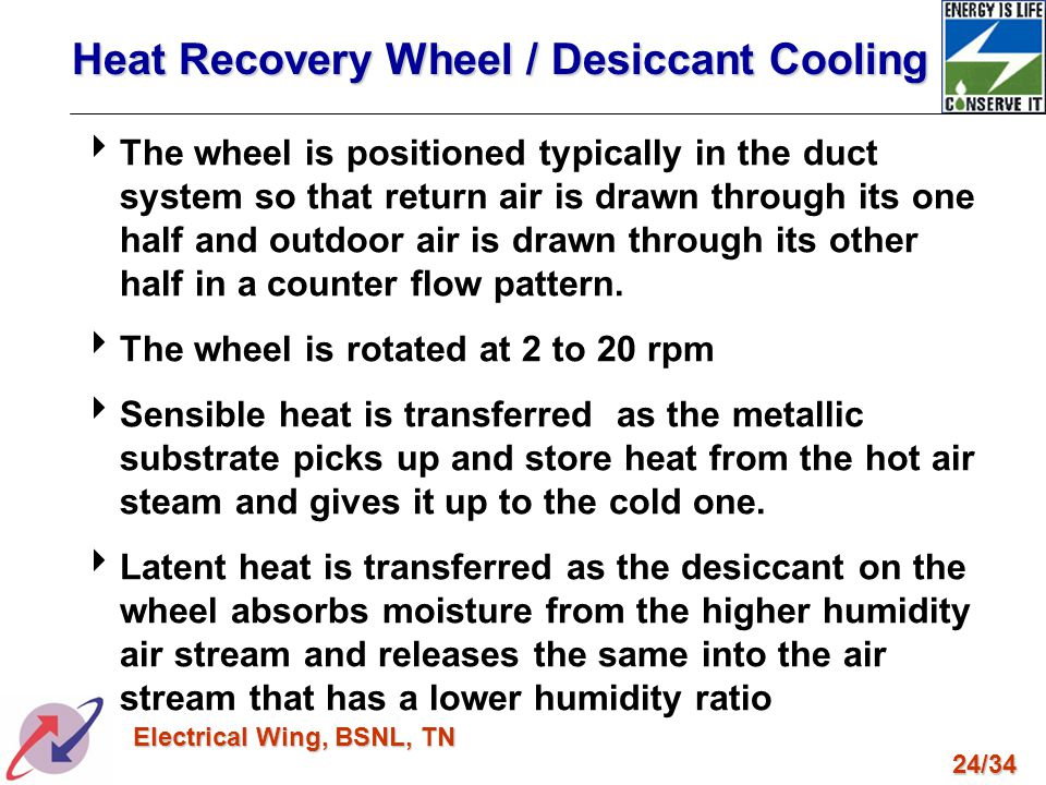 24/34 Electrical Wing, BSNL, TN Heat Recovery Wheel / Desiccant Cooling The wheel is positioned typically in the duct system so that return air is dra