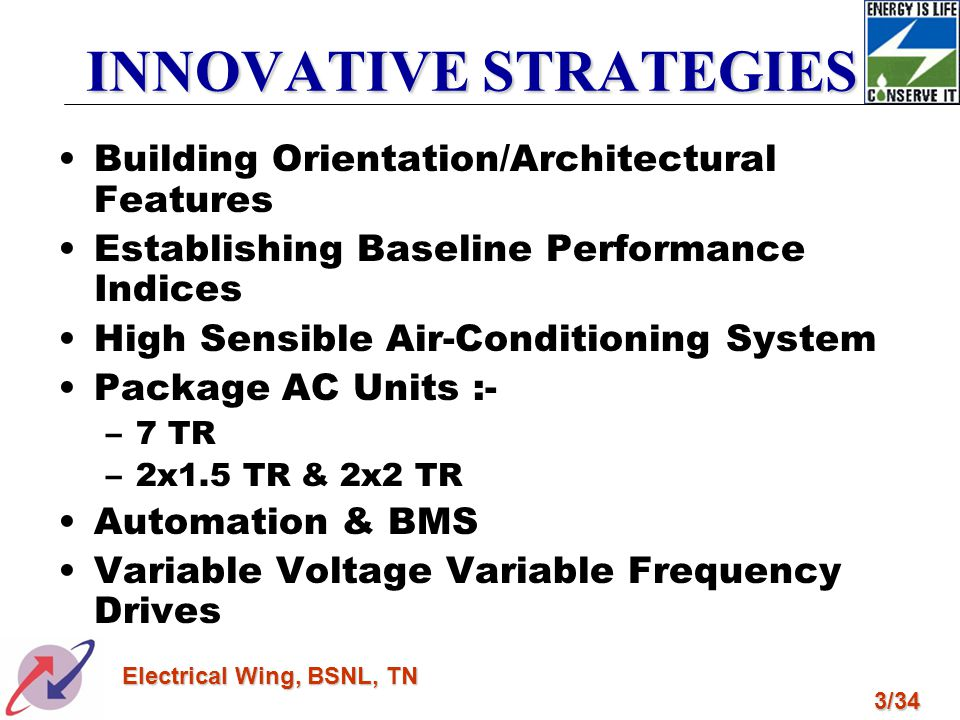 3/34 Electrical Wing, BSNL, TN INNOVATIVE STRATEGIES Building Orientation/Architectural Features Establishing Baseline Performance Indices High Sensib