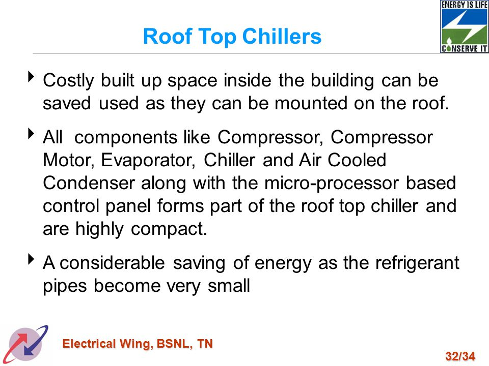 32/34 Electrical Wing, BSNL, TN Costly built up space inside the building can be saved used as they can be mounted on the roof. All components like Co