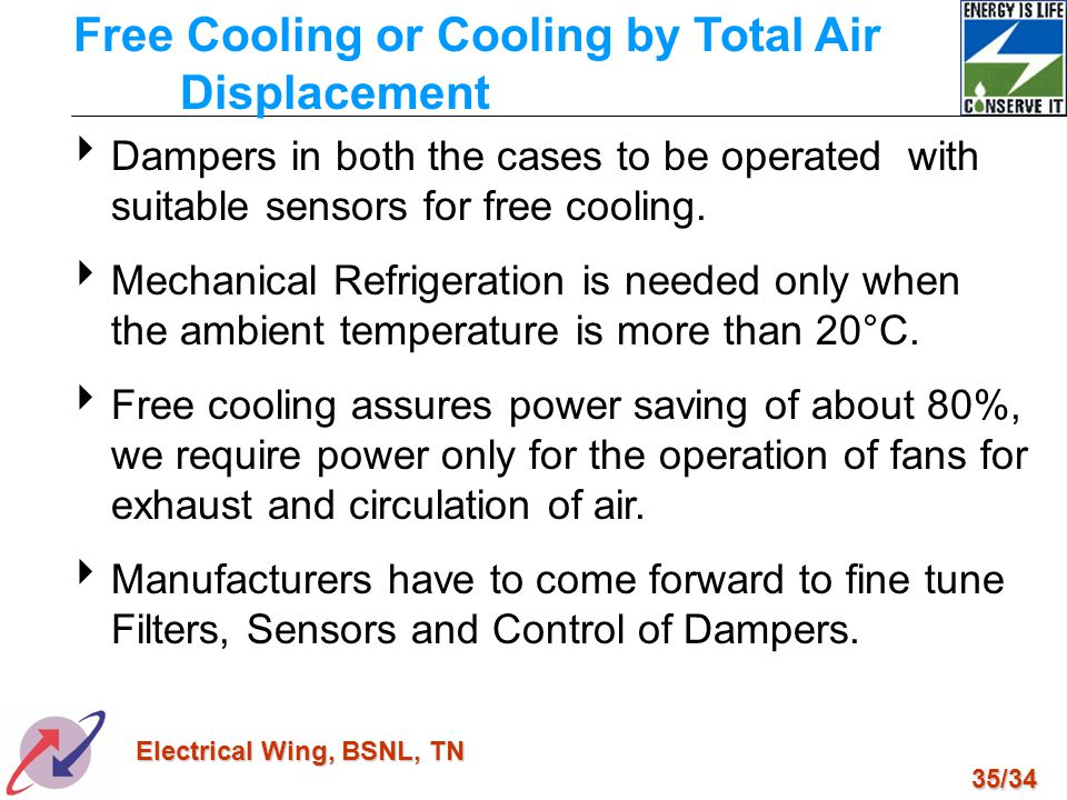 35/34 Electrical Wing, BSNL, TN Dampers in both the cases to be operated with suitable sensors for free cooling. Mechanical Refrigeration is needed on