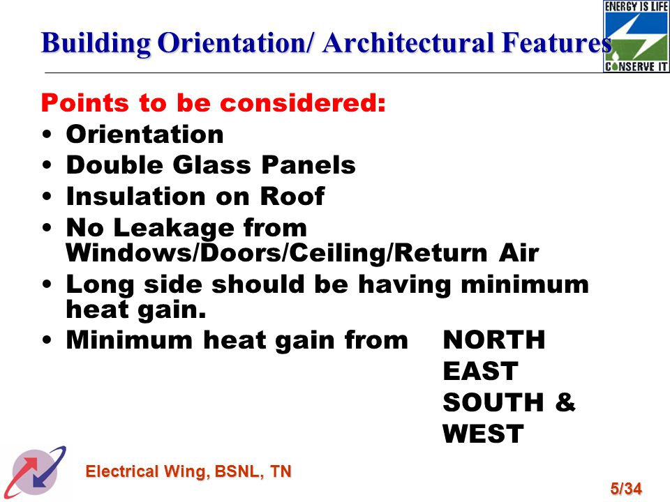 5/34 Electrical Wing, BSNL, TN Building Orientation/ Architectural Features Points to be considered: Orientation Double Glass Panels Insulation on Roo