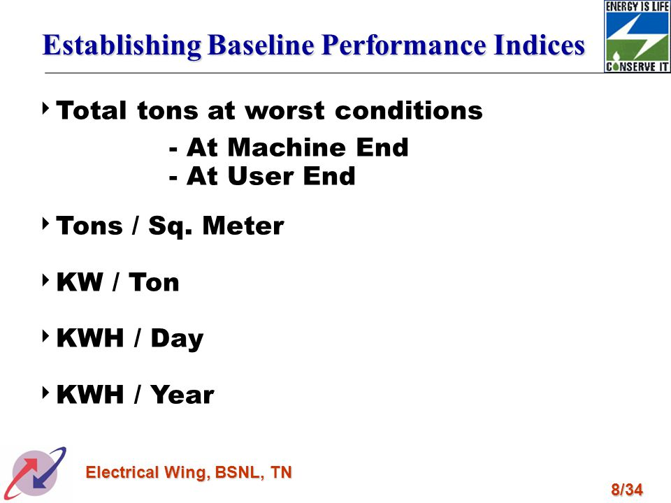 8/34 Electrical Wing, BSNL, TN Total tons at worst conditions - At Machine End - At User End Tons / Sq. Meter KW / Ton KWH / Day KWH / Year Establishi